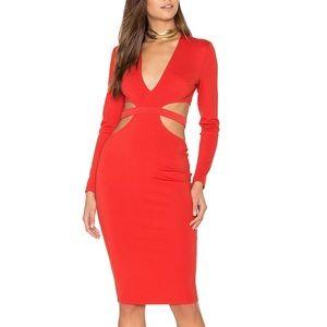 Ruby Red Asymmetrical Open Back Midi Dress